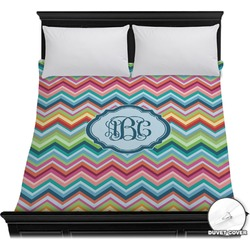 Retro Chevron Monogram Duvet Cover (Personalized)