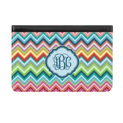 Retro Chevron Monogram Genuine Leather ID & Card Wallet - Slim Style (Personalized)