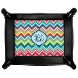Retro Chevron Monogram Genuine Leather Valet Tray (Personalized)