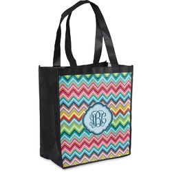 Retro Chevron Monogram Grocery Bag (Personalized)