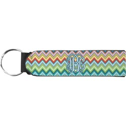 Retro Chevron Monogram Neoprene Keychain Fob (Personalized)