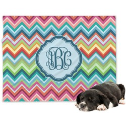 Retro Chevron Monogram Minky Dog Blanket (Personalized)