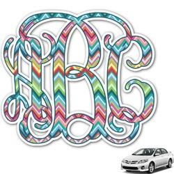 Retro Chevron Monogram Monogram Car Decal (Personalized)