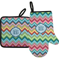 Retro Chevron Monogram Oven Mitt & Pot Holder (Personalized)