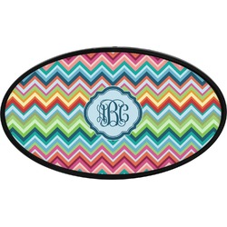 Retro Chevron Monogram Oval Trailer Hitch Cover (Personalized)