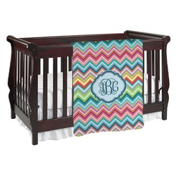 Retro Chevron Monogram Baby Blanket (Personalized)
