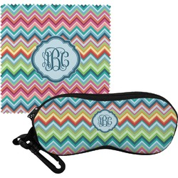 Retro Chevron Monogram Eyeglass Case & Cloth (Personalized)