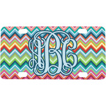 Retro Chevron Monogram Mini / Bicycle License Plate (4 Holes)