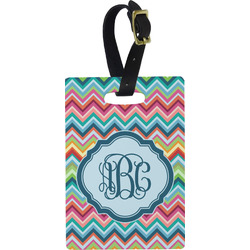 Retro Chevron Monogram Rectangular Luggage Tag (Personalized)