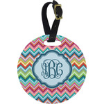 Retro Chevron Monogram Round Luggage Tag (Personalized)