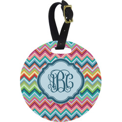 Retro Chevron Monogram Plastic Luggage Tag - Round