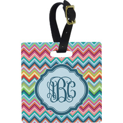 Retro Chevron Monogram Square Luggage Tag (Personalized)