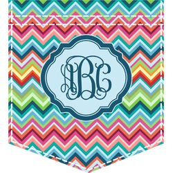 Retro Chevron Monogram Iron On Faux Pocket (Personalized)