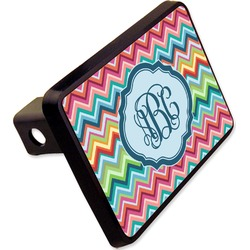 "Retro Chevron Monogram Rectangular Trailer Hitch Cover - 2"" (Personalized)"