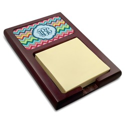 Retro Chevron Monogram Red Mahogany Sticky Note Holder (Personalized)