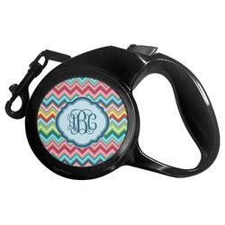 Retro Chevron Monogram Retractable Dog Leash - Multiple Sizes (Personalized)