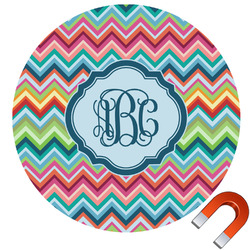 Retro Chevron Monogram Round Car Magnet (Personalized)