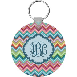 Retro Chevron Monogram Round Keychain (Personalized)