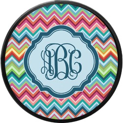 Retro Chevron Monogram Round Trailer Hitch Cover (Personalized)
