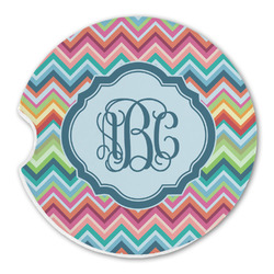 Retro Chevron Monogram Sandstone Car Coasters (Personalized)