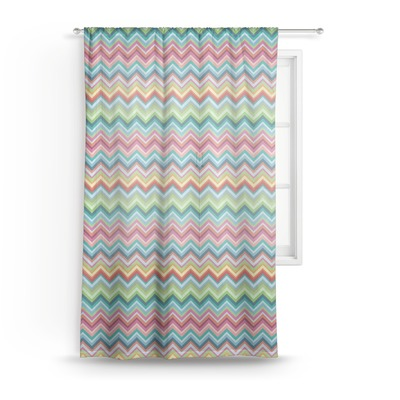 Retro Chevron Monogram Sheer Curtains (Personalized)