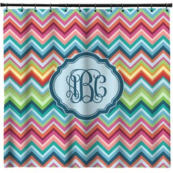 Retro Chevron Monogram Shower Curtain (Personalized)