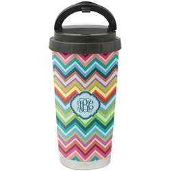 Retro Chevron Monogram Stainless Steel Coffee Tumbler (Personalized)