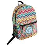 Retro Chevron Monogram Student Backpack (Personalized)