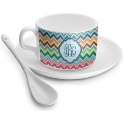 Retro Chevron Monogram Tea Cup - Single (Personalized)