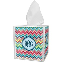 Retro Chevron Monogram Tissue Box Cover (Personalized)