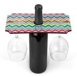 Retro Chevron Monogram Wine Bottle & Glass Holder (Personalized)