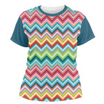 Retro Chevron Monogram Women's Crew T-Shirt (Personalized)