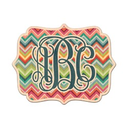 Retro Chevron Monogram Genuine Wood Sticker (Personalized)
