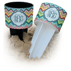 Retro Chevron Monogram Beach Spiker Drink Holder (Personalized)