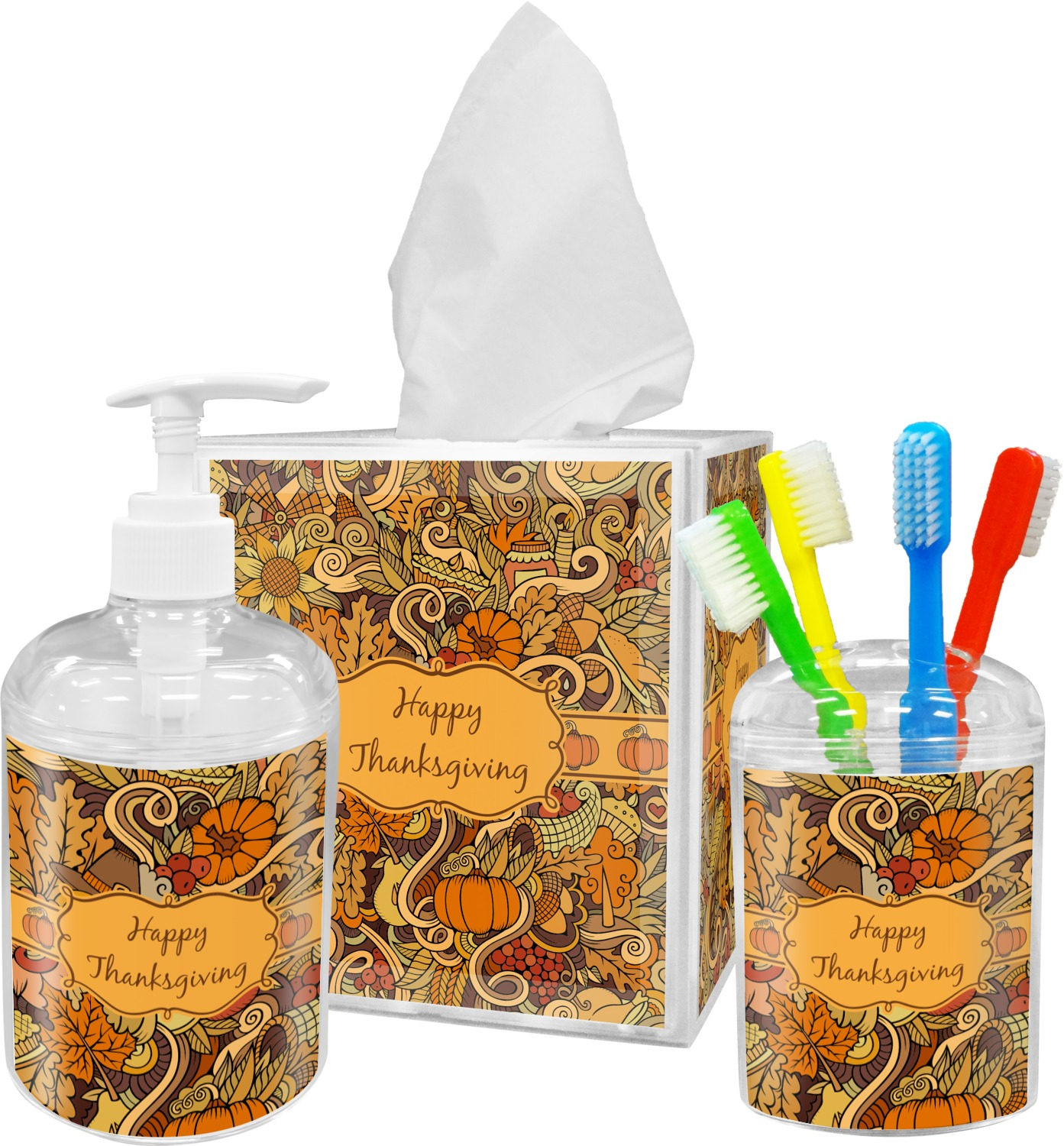 Thanksgiving Bathroom Accessories Set Personalized YouCustomizeIt