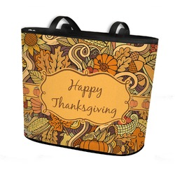 Thanksgiving Bucket Tote w/ Genuine Leather Trim (Personalized)
