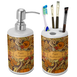 Thanksgiving Bathroom Accessories Set (Ceramic) (Personalized)