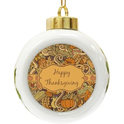 Thanksgiving Ceramic Ball Ornament (Personalized)