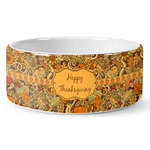 Thanksgiving Ceramic Dog Bowl (Personalized)