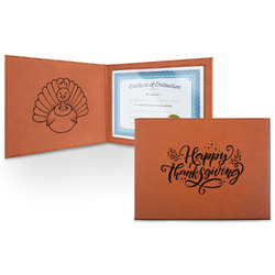 Thanksgiving Leatherette Certificate Holder (Personalized)