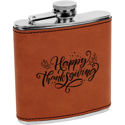 Thanksgiving Leatherette Wrapped Stainless Steel Flask (Personalized)