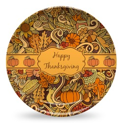 Thanksgiving Microwave Safe Plastic Plate - Composite Polymer (Personalized)