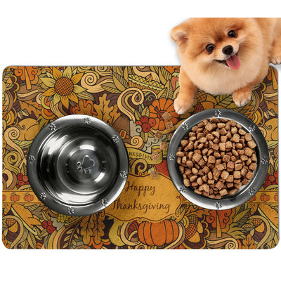 Thanksgiving Dog Food Mat - Small