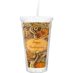 Thanksgiving Double Wall Tumbler with Straw (Personalized)