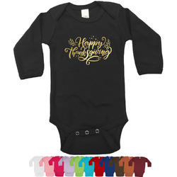 Thanksgiving Foil Bodysuit - Long Sleeves - Gold, Silver or Rose Gold (Personalized)