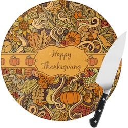 Thanksgiving Round Glass Cutting Board (Personalized)