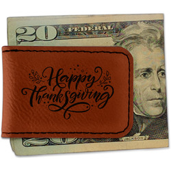 Thanksgiving Leatherette Magnetic Money Clip (Personalized)
