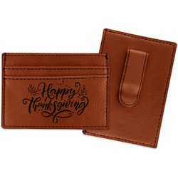 Thanksgiving Leatherette Wallet with Money Clip (Personalized)