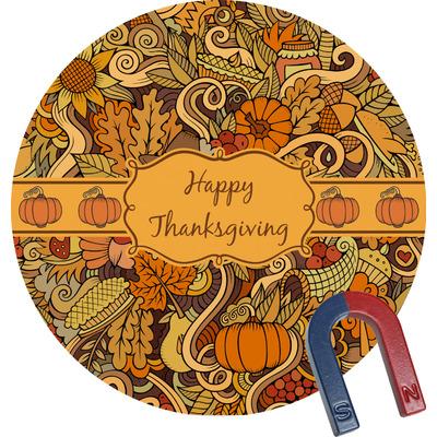 Thanksgiving Round Fridge Magnet