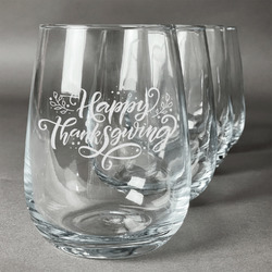 Thanksgiving Stemless Wine Glasses (Set of 4) (Personalized)